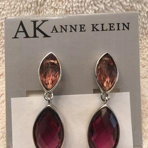 Anne Klein - Amethyst teardrop clip earrings
